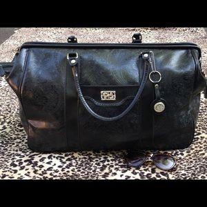 LARGE BUENO BLACK FLORAL EMBOSSED OVERNIGHT BAG